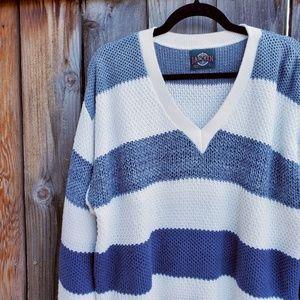 Vintage Jantzen Striped Knit V Neck Sweater